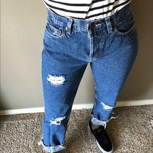 Vintage High Rise Distressed Boyfriend Jeans